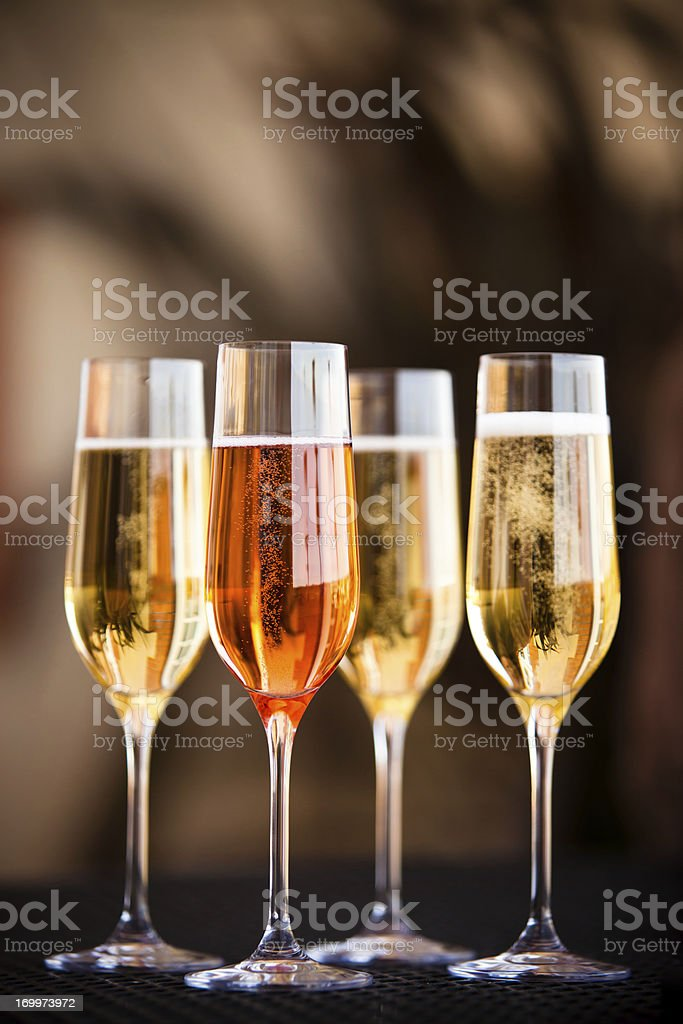 Four Flutes of Champagne stock photo