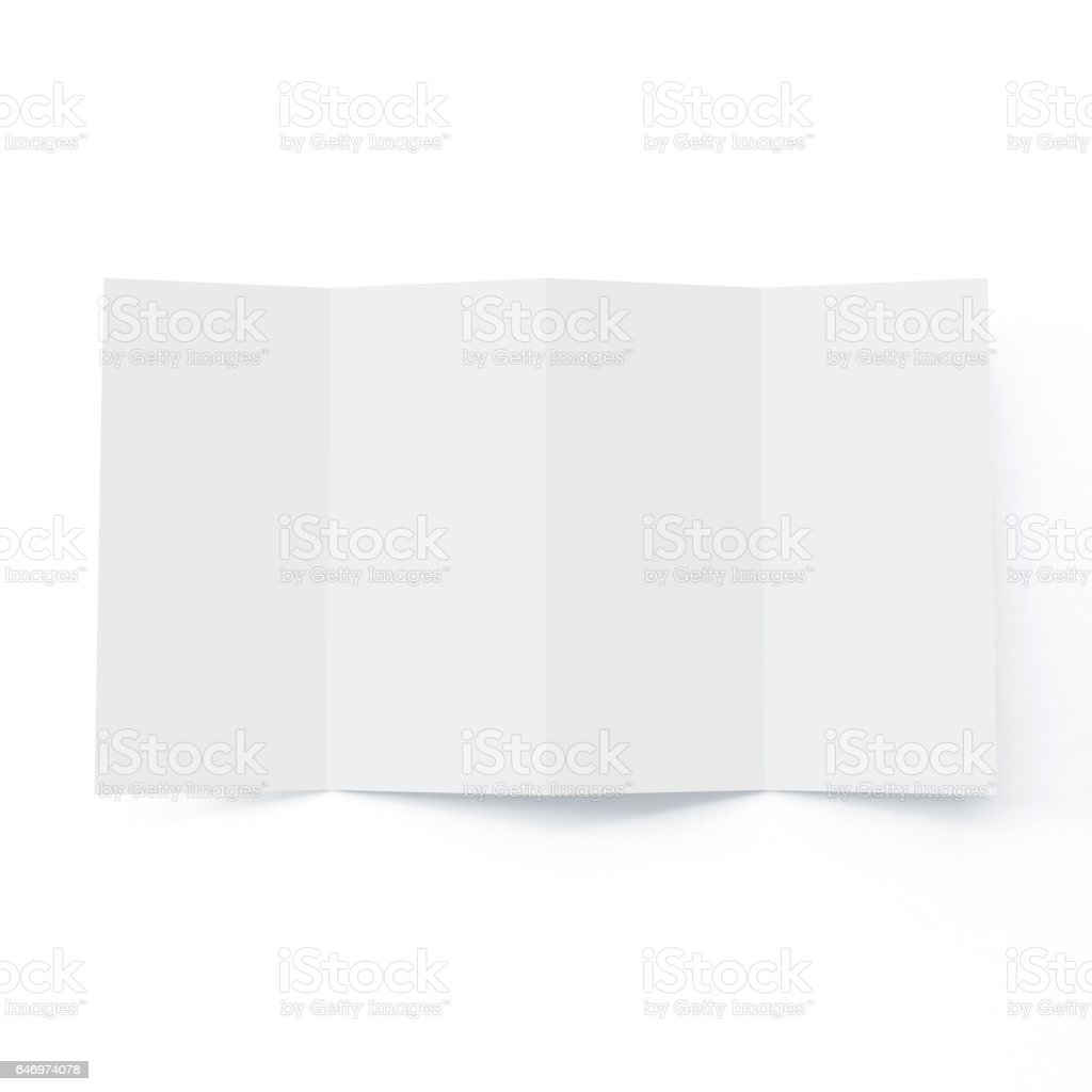 Four Fold Brochure Mock-up on Isolated White Background. stock photo