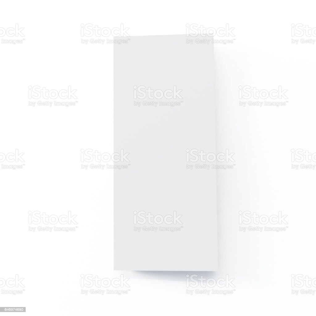 Four Fold Brochure Mock-up on Isolated White Background stock photo