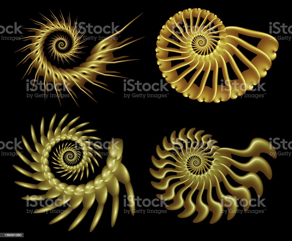 Four Fractal Spirals royalty-free stock photo
