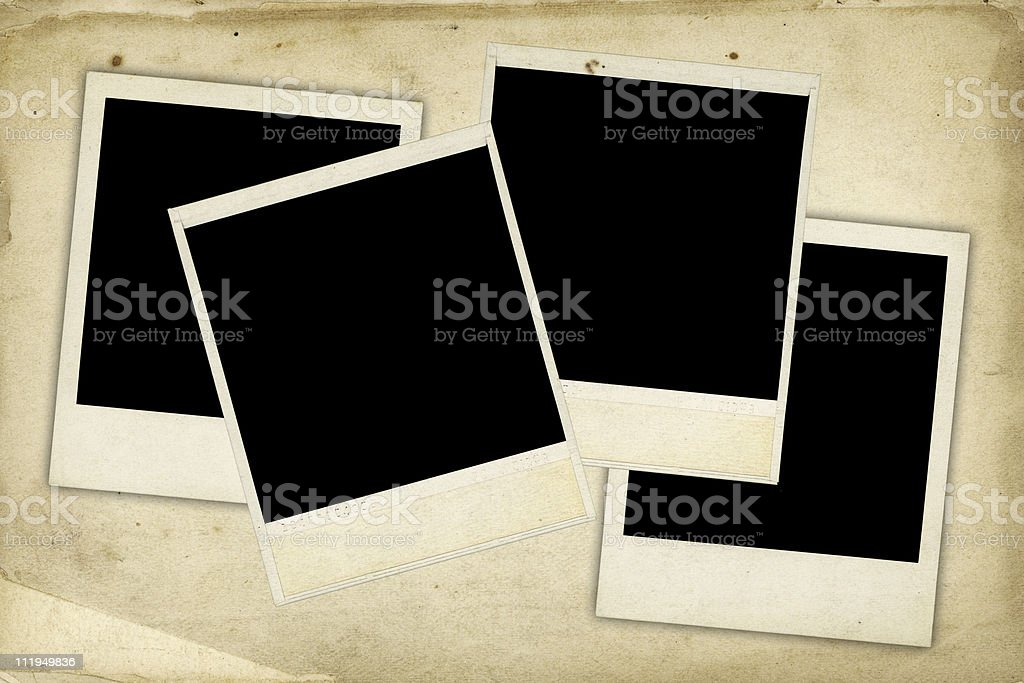 Four framed prints on old paper background royalty-free stock photo