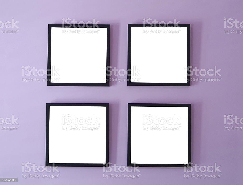 Quatre cadres sur le mur photo libre de droits