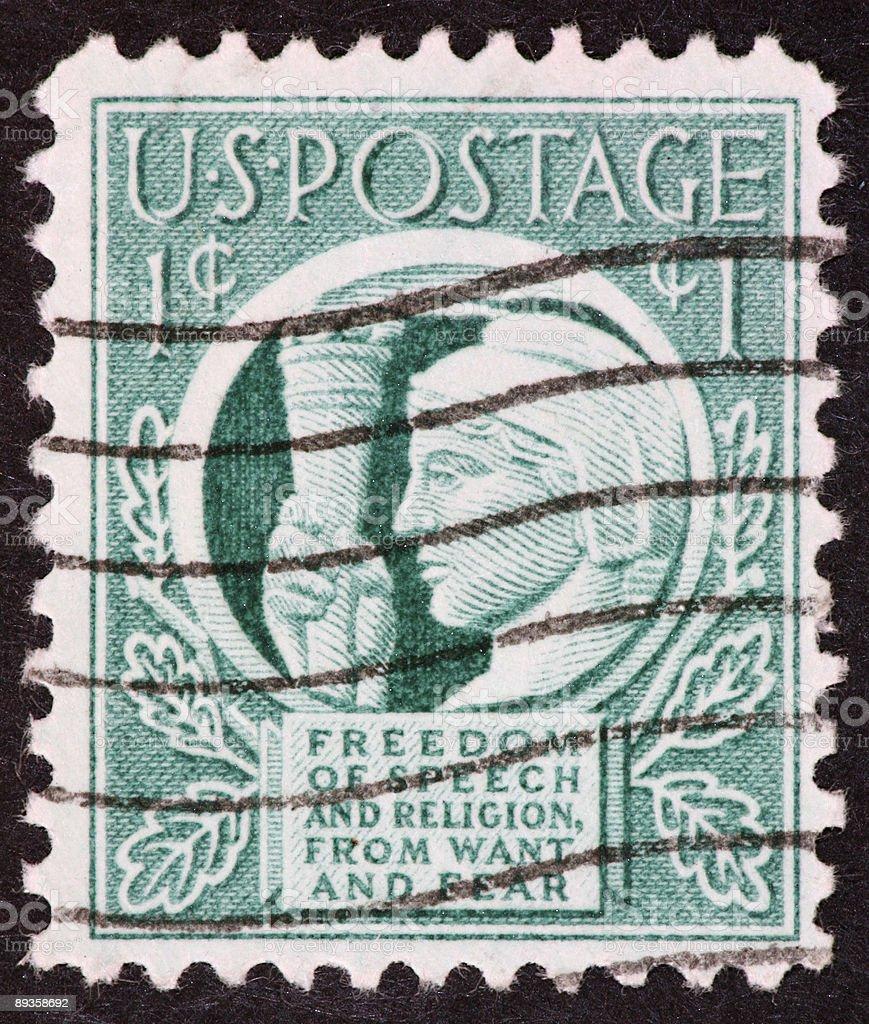 Four freedoms stamp 1943 royaltyfri bildbanksbilder