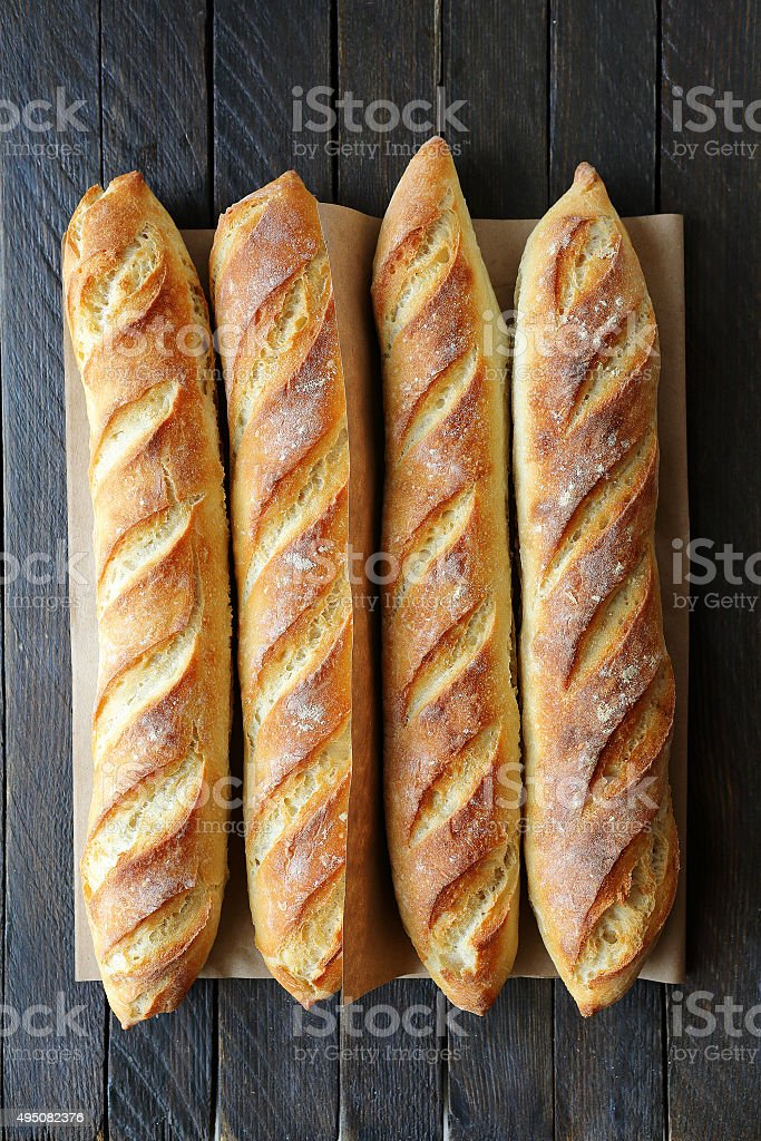 four french baguette stock photo