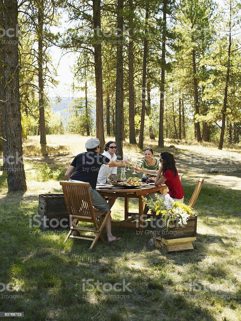 Four friends toasting at outdoor dining table royaltyfri bildbanksbilder