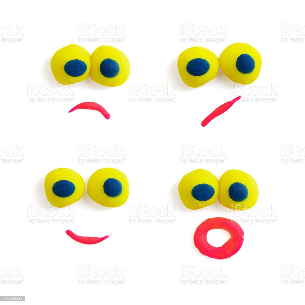 Four funny faces - eyes and mouths - made of stock photo