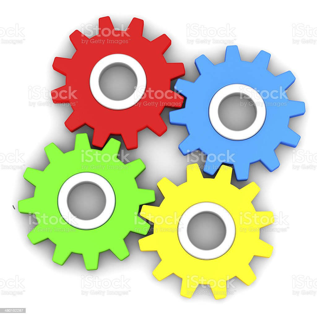 four gears on white background stock photo