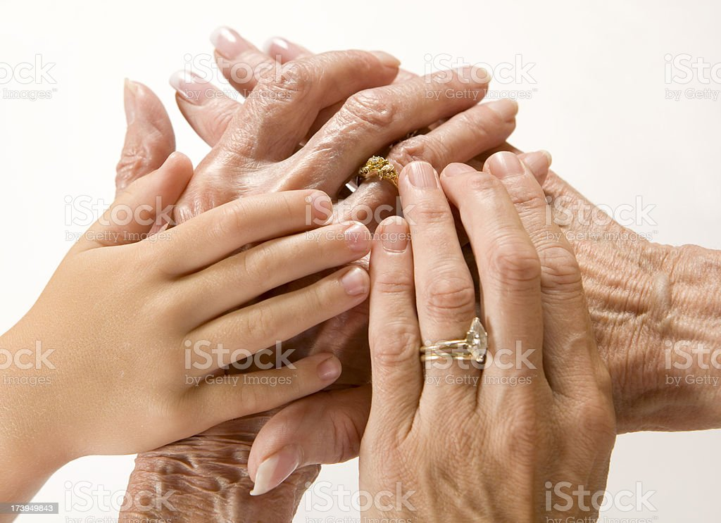 Four Generations of Hands royalty-free stock photo