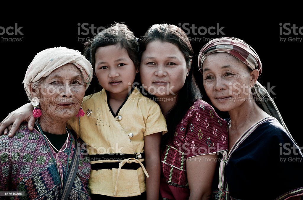 Four Generations of Po Karen Women royalty-free stock photo