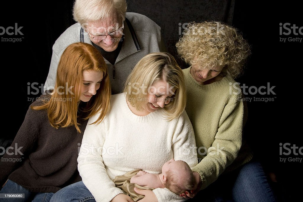 Four Generations with Newborn Baby stock photo