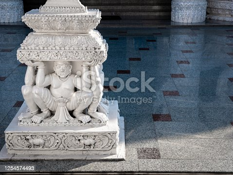 The Four White Giant Statues Sitting and Carrying on Four Sides of Pillar in Front The Church