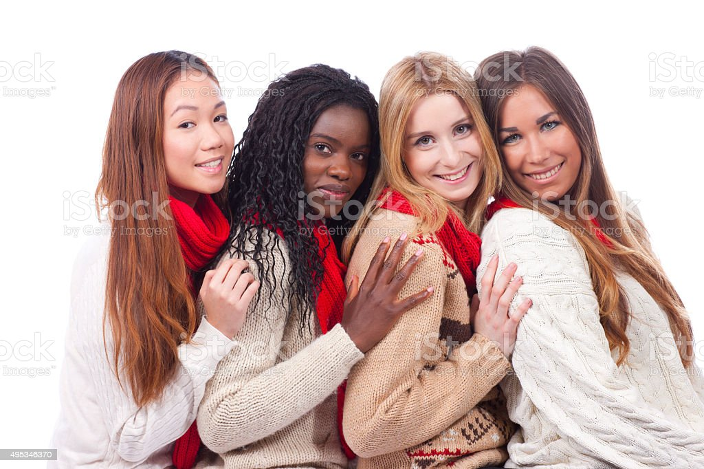 four girlfriends with different derivation stock photo