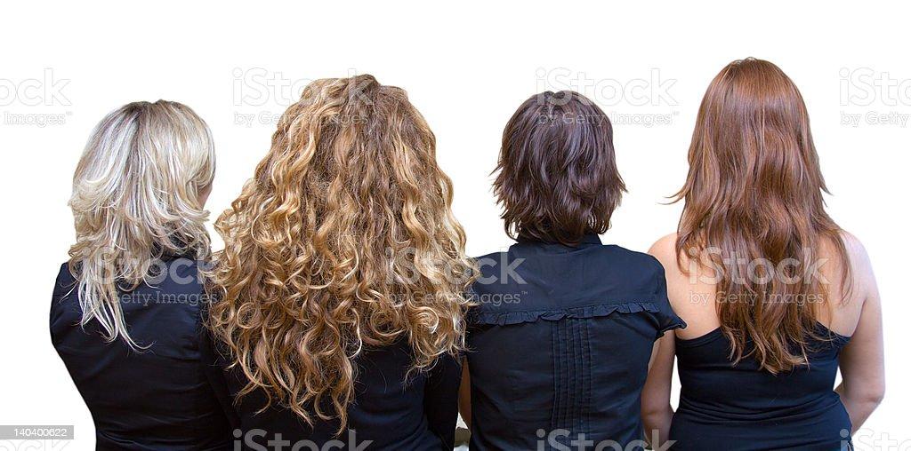 Four girls, 4 hair colours stock photo