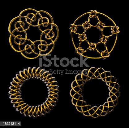 istock Four Gold Mathematical Knots - includes clipping path 139543114