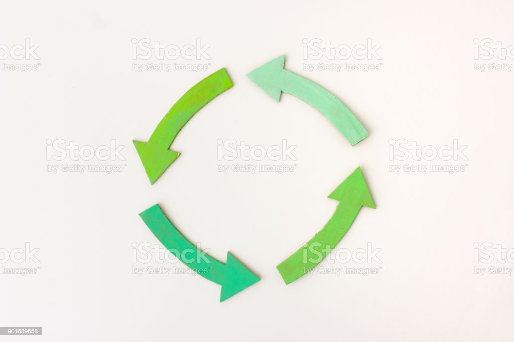Four green arrows arranged in circle on white background