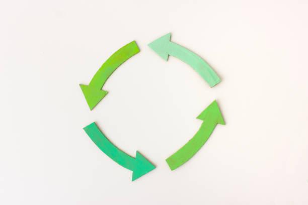 Cuatro flechas verdes en círculo - foto de stock