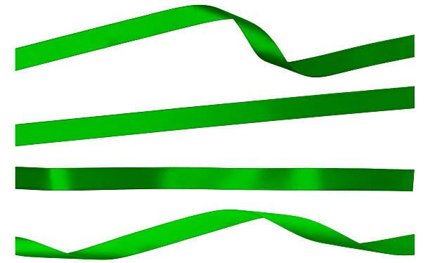 Vier Grün Satin Streifen auf weiß isoliert-Band – Foto