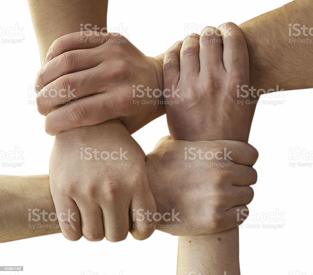 Four hands and wrists forming a square royalty-free stock photo