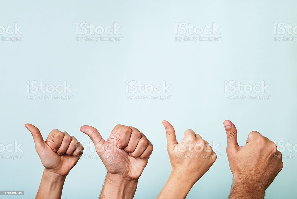 Four hands like, recommend, success gesture. Content marketing satisfaction concept stock photo