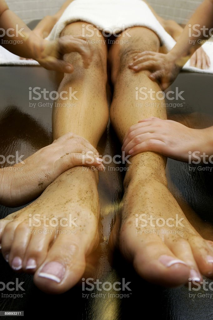 four hands massage royalty-free stock photo