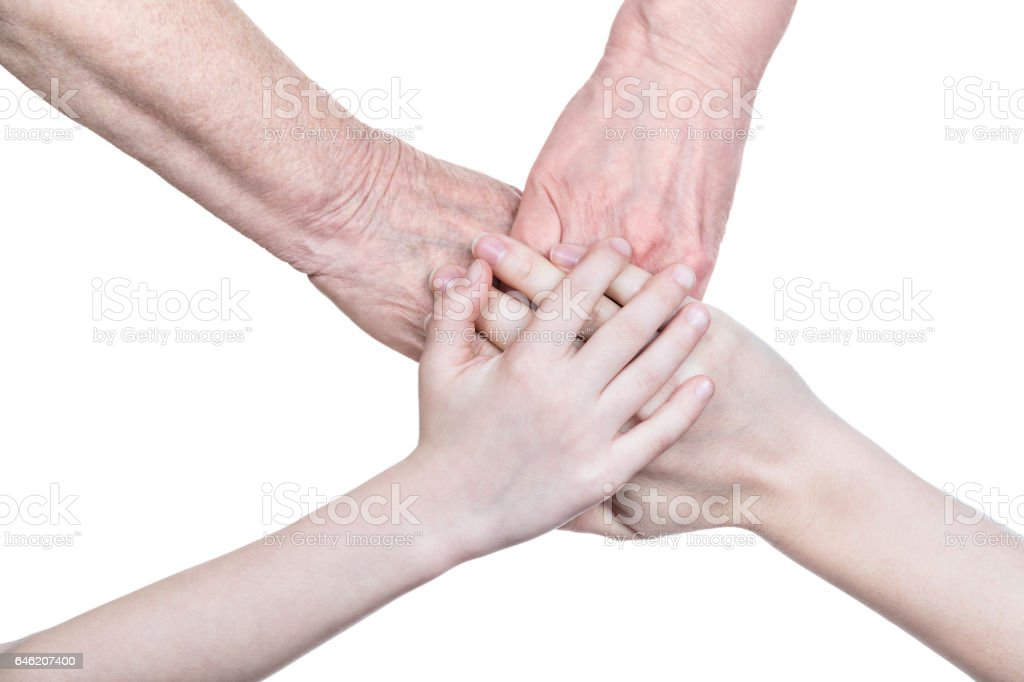 Four hands of the family stock photo
