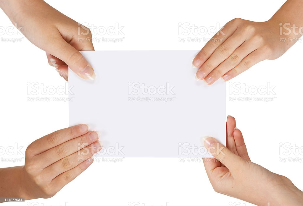 Four hands royalty-free stock photo