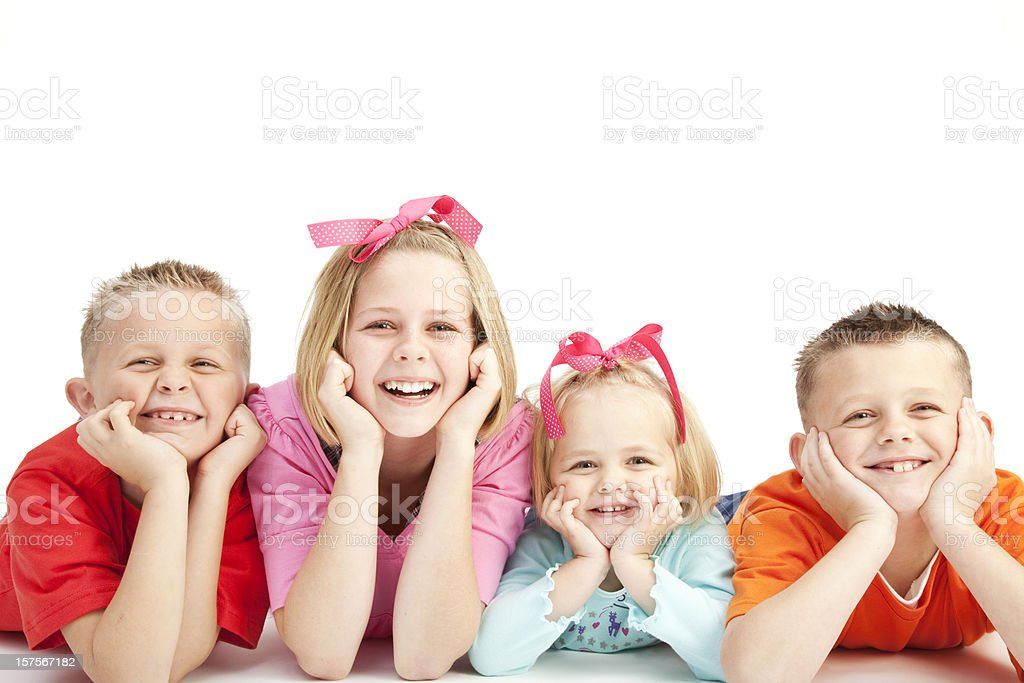 Four Happy Children smiling together royalty-free stock photo