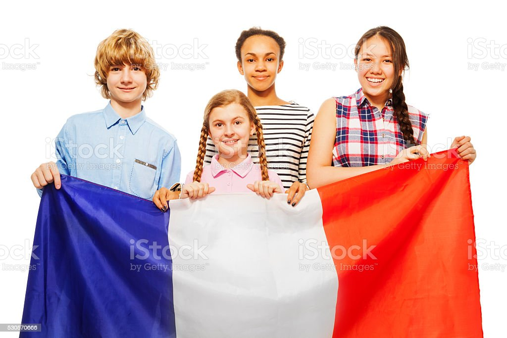 Four happy multiethnic students from France stock photo
