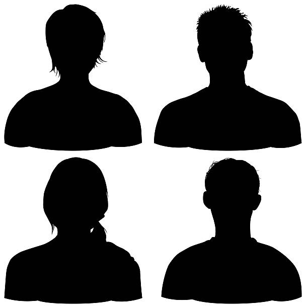 four heads, isolated on white - head stock photos and pictures
