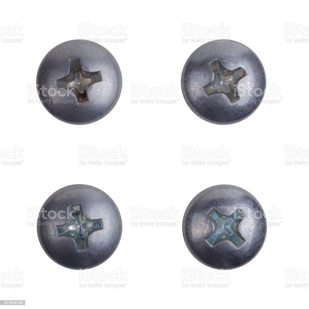 Four heads of screws stock photo