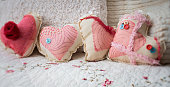 Four home made heart shaped pillows