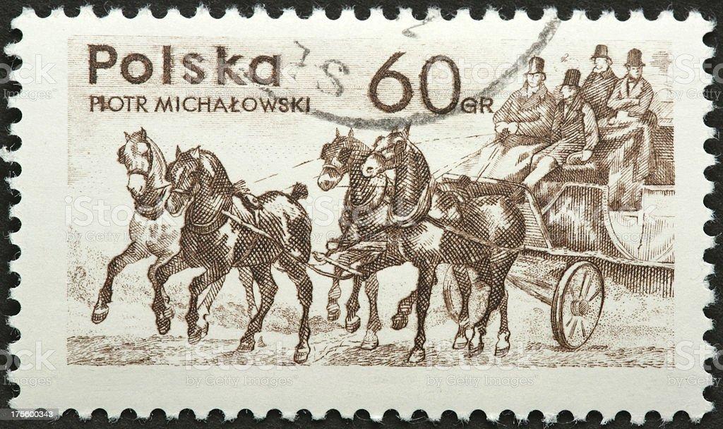 four horse coach, vintage Polish stamp royalty-free stock photo