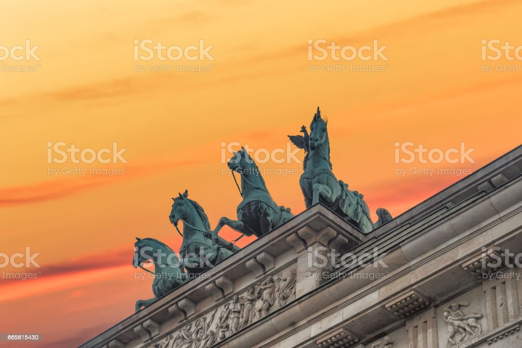 Four horses close-up Brandenburgertor stock photo