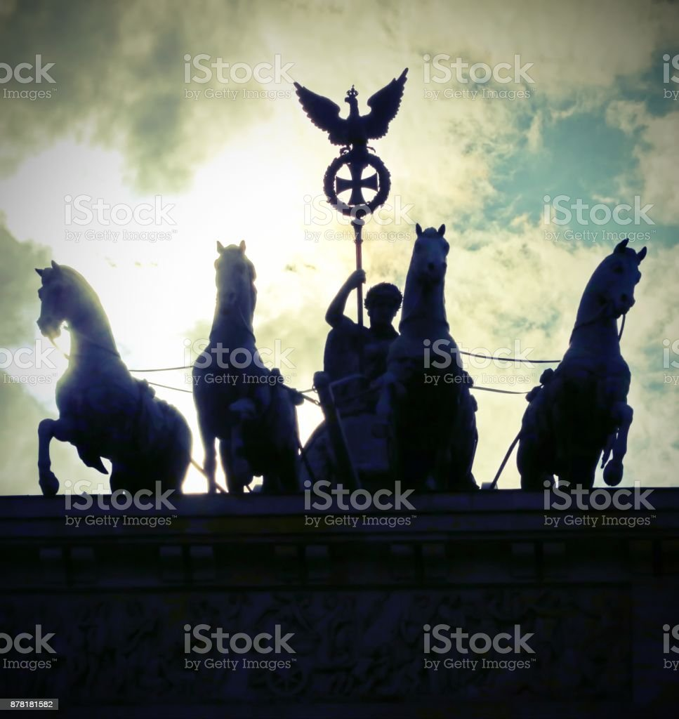 Four horses with the chariot and the goddess are the symbol of t stock photo