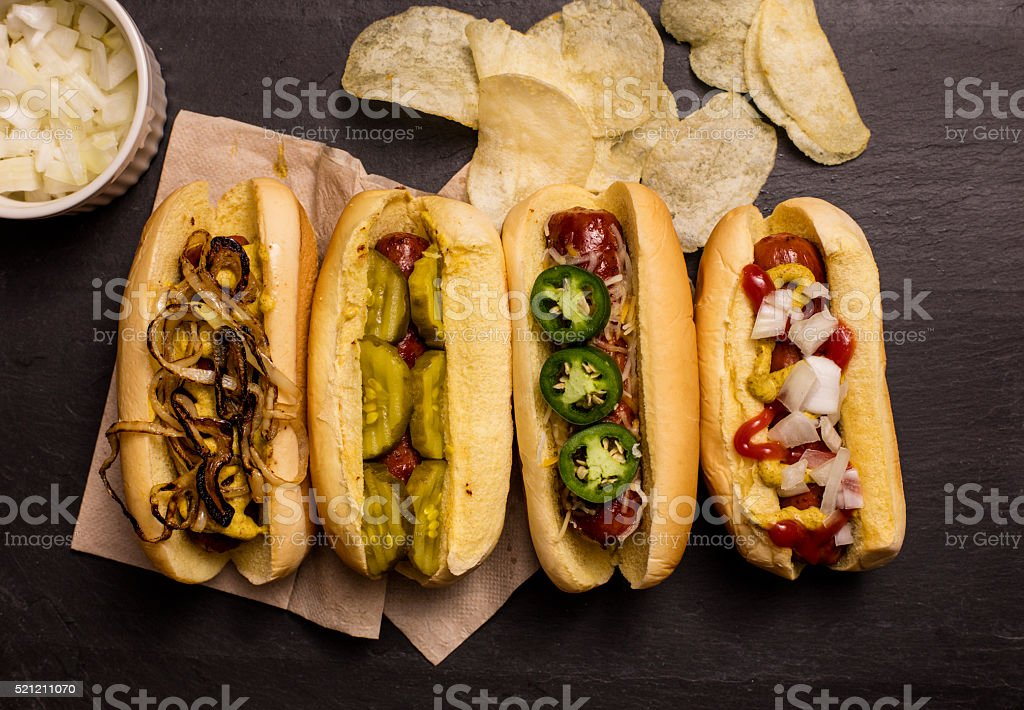 Four Hot Dogs, Top Down stock photo