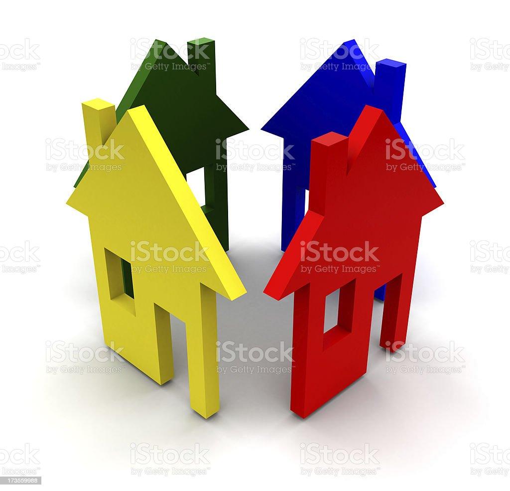 Four houses royalty-free stock photo