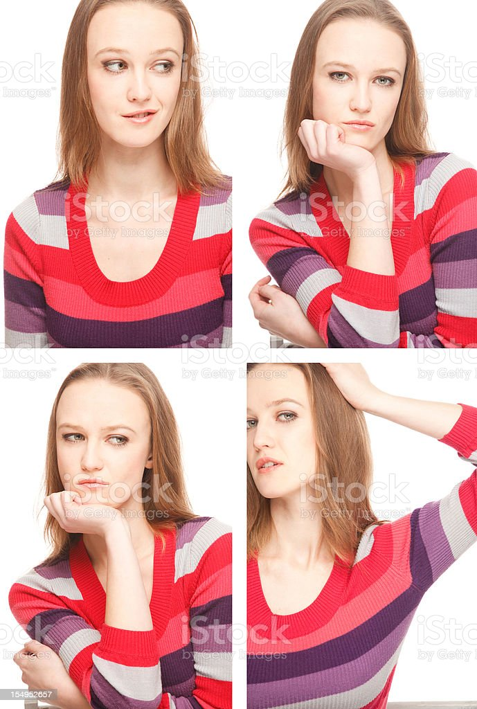 Four images of a young woman in Photo Booth stock photo