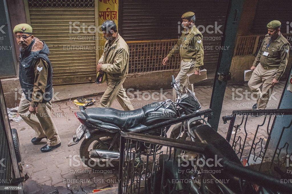 Four Indian policemen stock photo