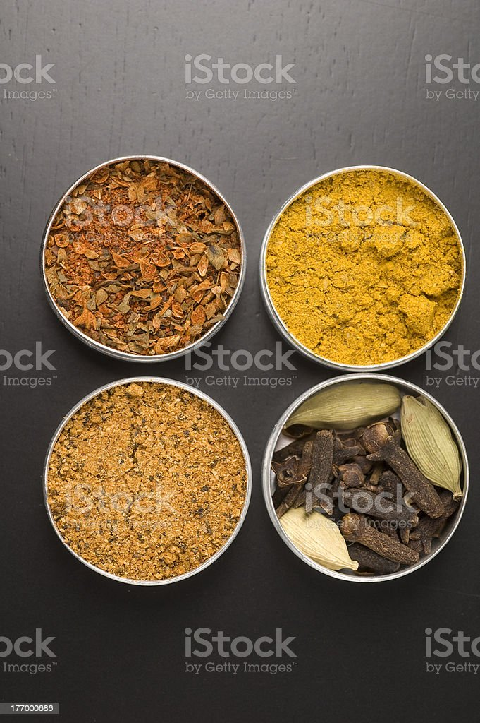 Four Indian Spices stock photo