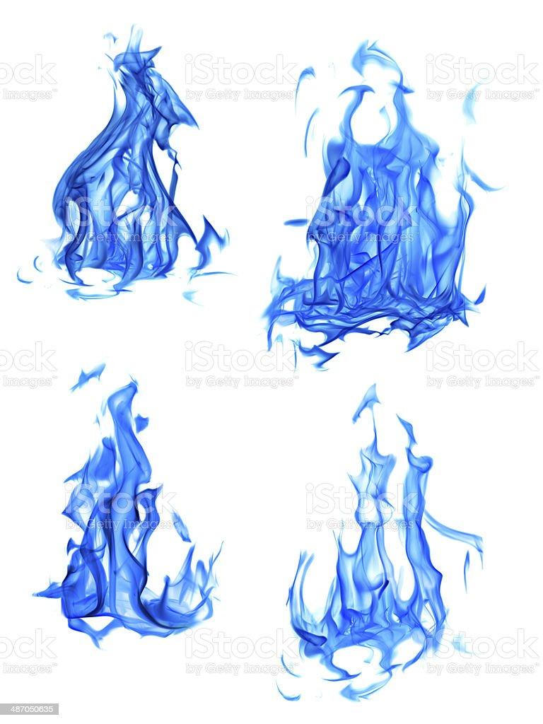 Vier isolierte auf weiß-blauen Flammen-set – Foto