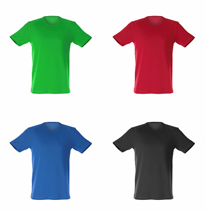 four isolated t-shirts
