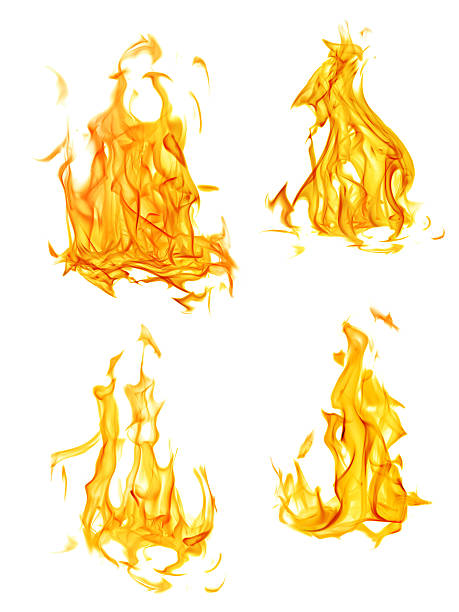 four isolated yellow and orange flames set - vlam stockfoto's en -beelden