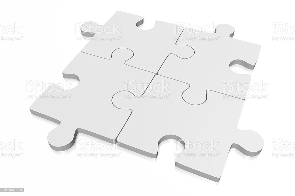 3D four jigsaw puzzles stock photo