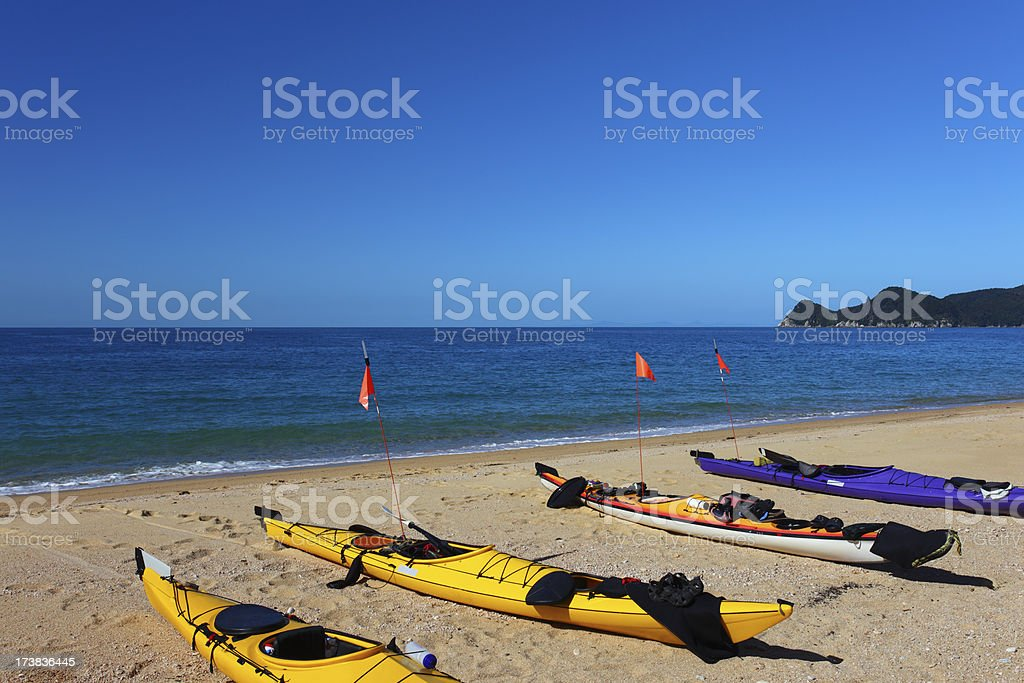 Four kayaks on the beach (XXXL) royalty-free stock photo