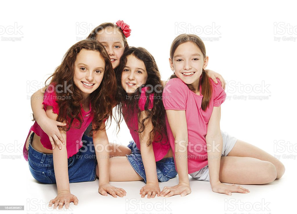 Four kids girls in pink royalty-free stock photo