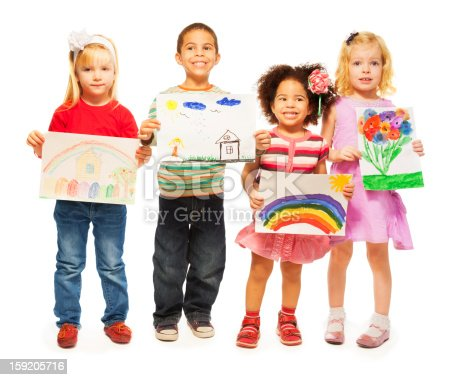 istock Four kids with pictures in their hands 159205716