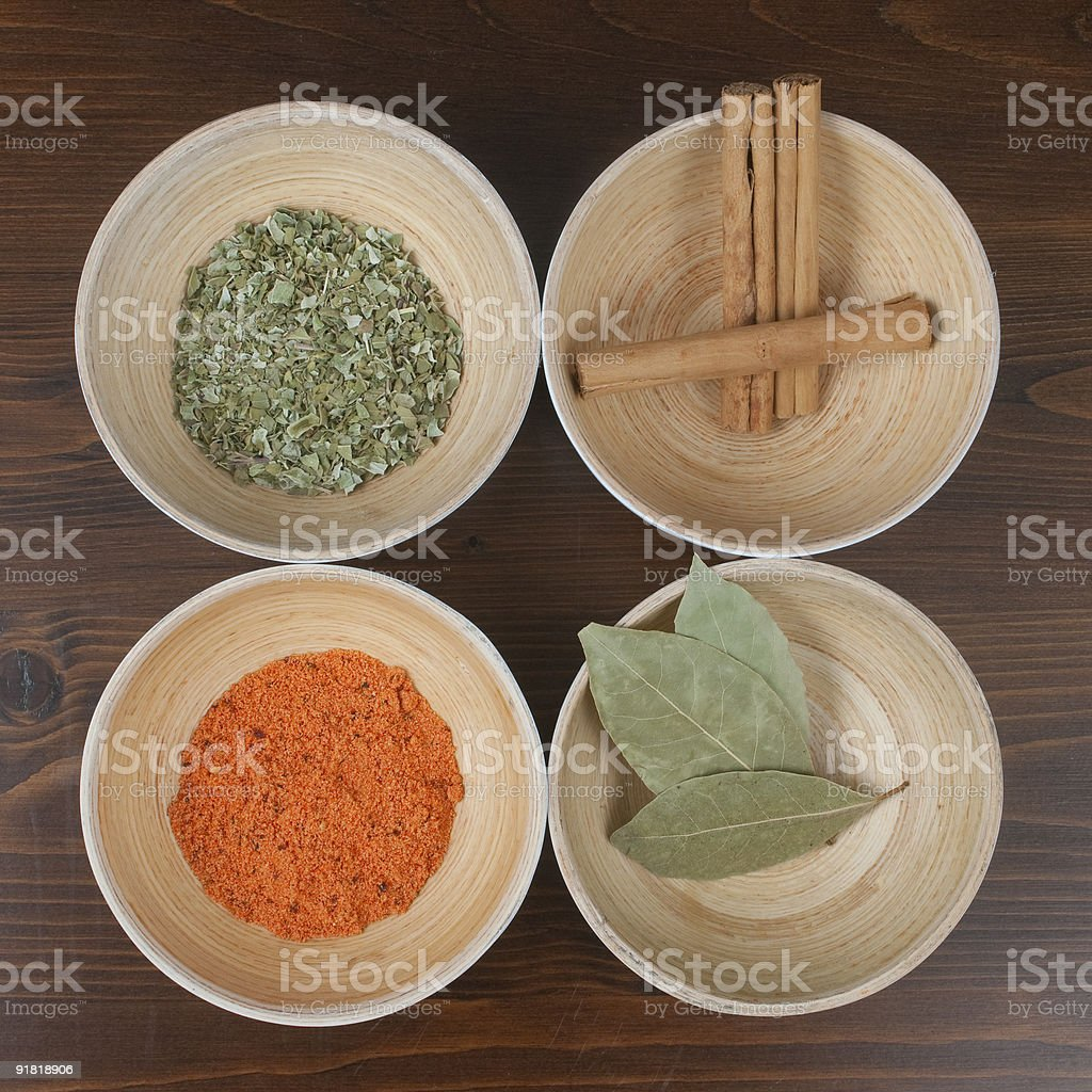 Four kinds of spices shot in a studio. royalty-free stock photo