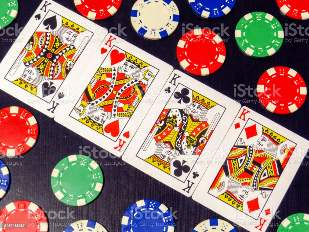 Four Kings In Poker Cards And Poker Chips Stock Photo Download