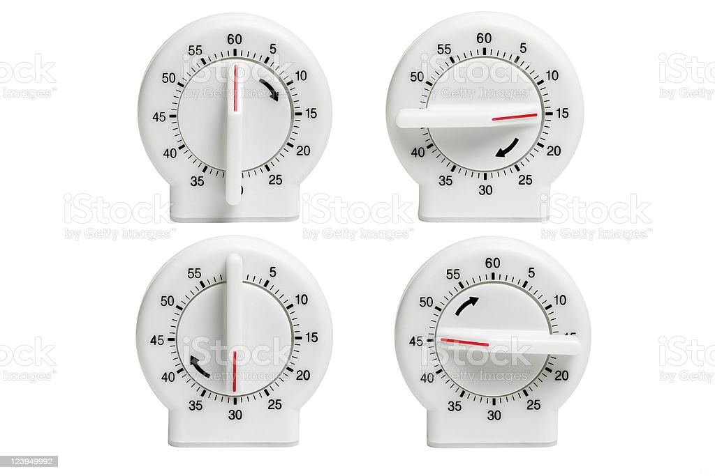 Four kitchen timers stock photo
