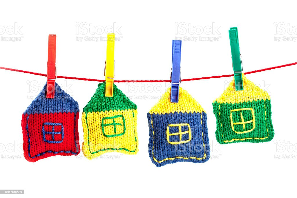 four knitted colorful houses royalty-free stock photo